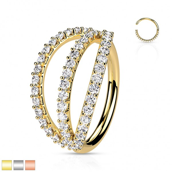 Biegbarer Hoop Ring mit 3 Rheien Zirkonias Ohrpiercing Conch Helix