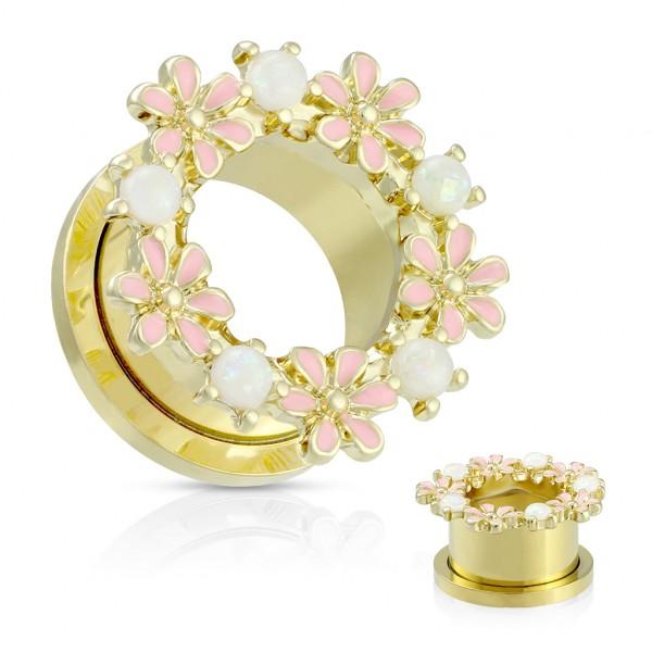 Opalsteine und Enamel Blume Gold PVD Flesh Tunnel mit Gewinde Plug