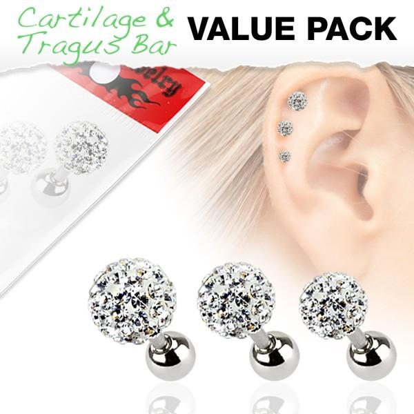 3er Pack Ferido Kugel Cartilage Tragus Piercing Kristall