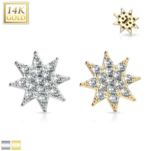 14 Karat Echtgold Stern Dermal Anchor mit Kristallen verziert