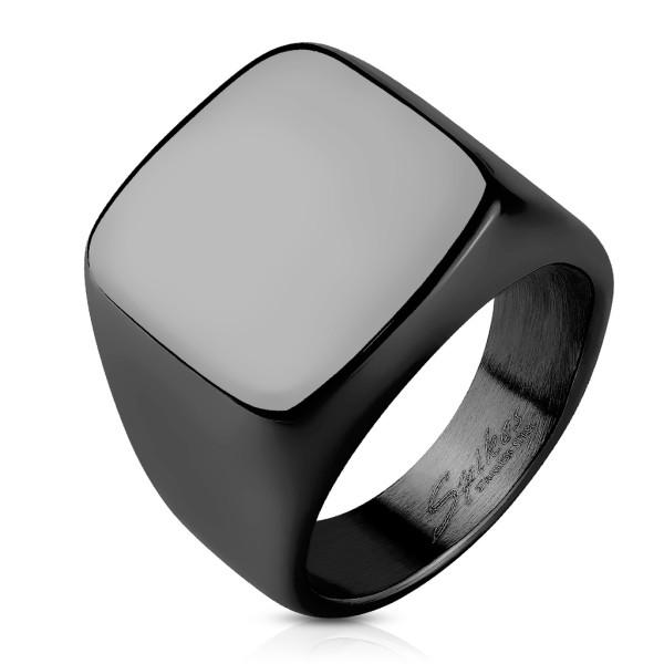 Ring Signet quadratisch schwarz, Edelstahl