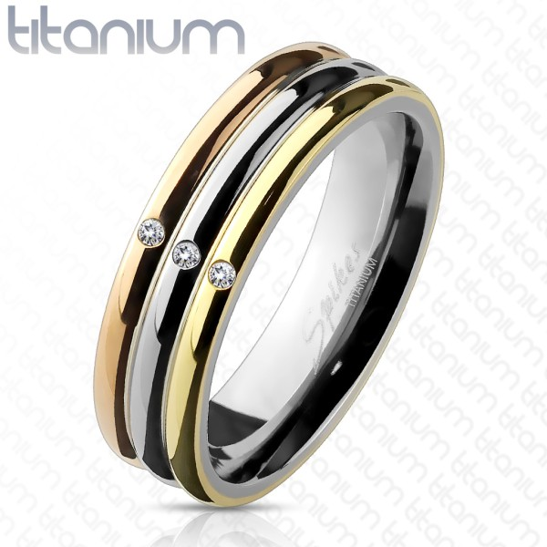 3 Ringe Gold Silber Kristall Titan