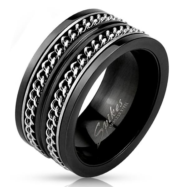 Ring Kubanische Kette Edelstahl schwarz