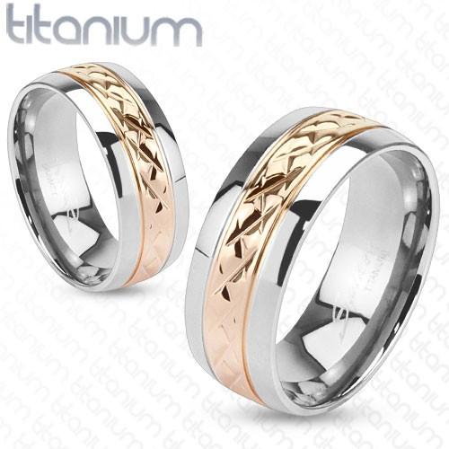 Ring rosegold Riffelung Titan