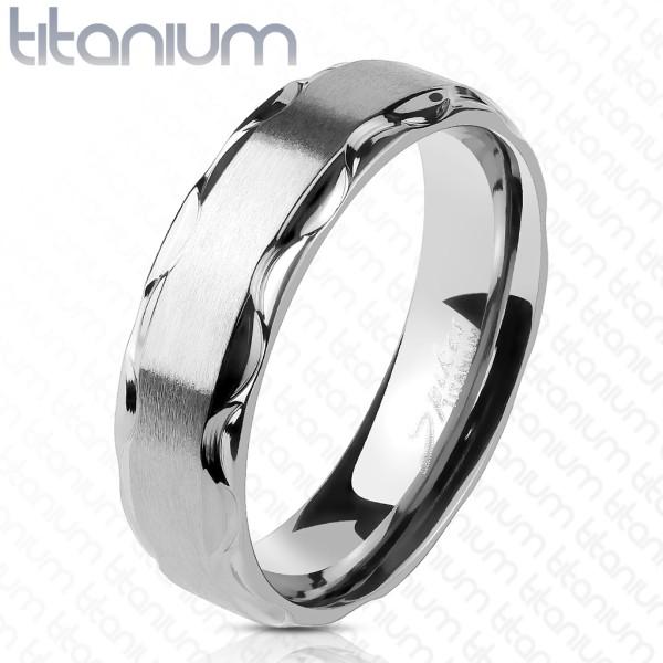 Ring silber gebürstet tribal Kanten Titan