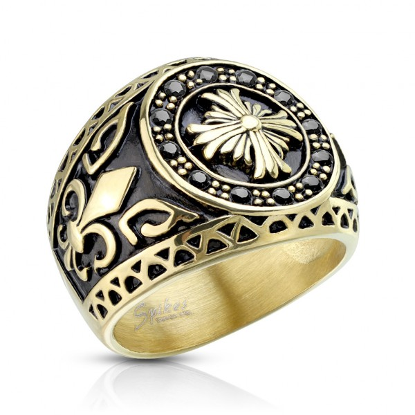 Ring schwarz Keltenkreuz, Fleur de Lis gold Edelstahl Gussring