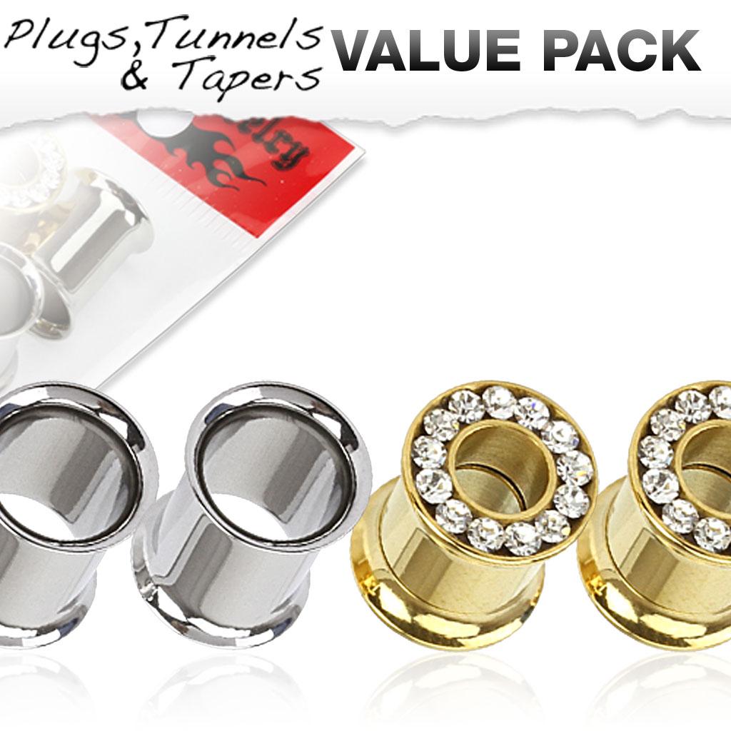 4er pack flesh tunnel gold zirkonia silber piercing xxl online shop. Black Bedroom Furniture Sets. Home Design Ideas