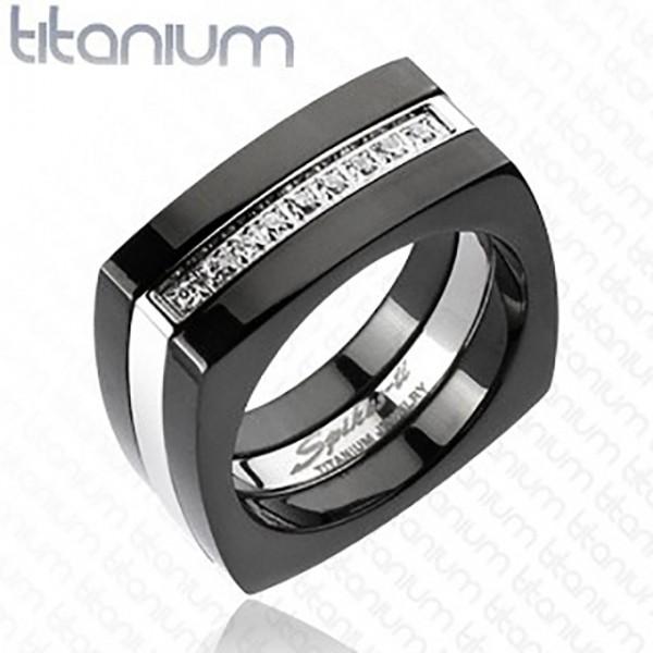 Ring Kristallbesetzt zweitönig silber schwarz Titan