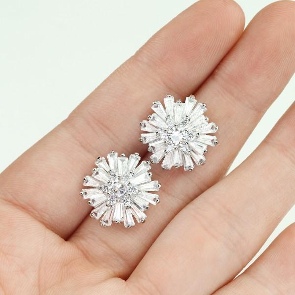 1 Paar Ohrringe Stecker Blume Edelstahl 316L
