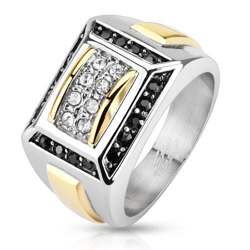 Ring zweitönig schwarze, klare Kristalle Edelstahl