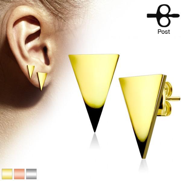 Ohrringe Ohrstecker Paar Dreieck Gold glänzend 316L Stahl