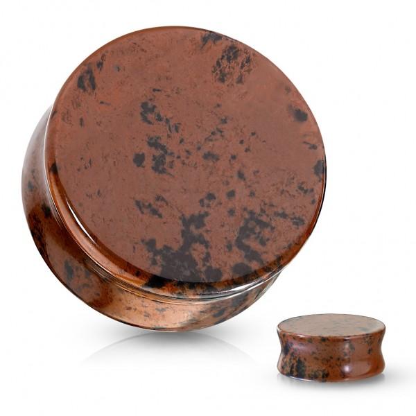 Obsidian Naturstein Flesh Plug braun mit schwarzen Spritzern
