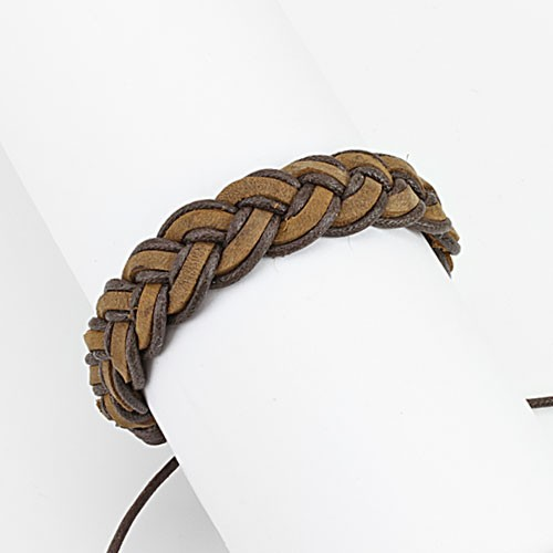 Lederarmband Braun geflochten Knoten verstellbarer Verschluss