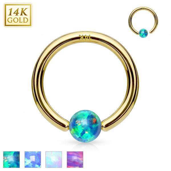 14 Karat Gelbgold CBR Ring mit Opal Zirkonia