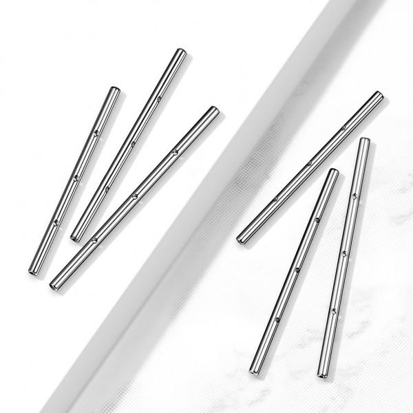 10er Pack 316L Chirurgenstahl Innengewinde Industrial Barbell Pin mit drei Gewindelöchern
