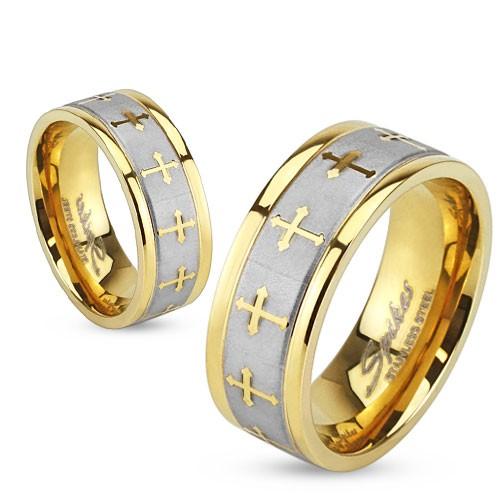 Ring Silber rau Keltenkreuze gold Edelstahl