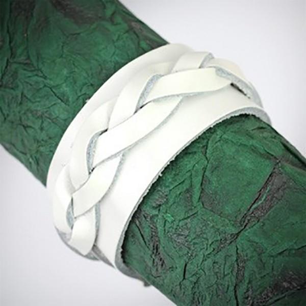 Dicke geflochtene Bänder Lederarmband Armaband weiß