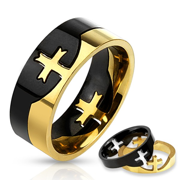 Ring zweitönig Kreuz Puzzle-Ring Edelstahl