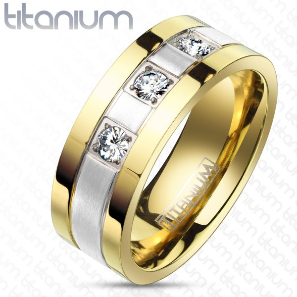 Ring silber rau gold 3 Kristalle