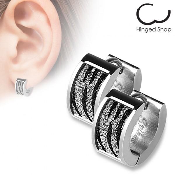ein Paar Ring 316L Chirurgenstahl Ohr Ringe mit Quadrat Zebra Sand Glitzer