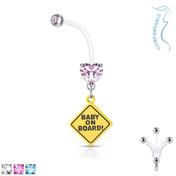 Herzkristall mit Fassung mit Baby on Board Zeichen hängend Schwangerschafts- Bauchnabelpiercing Biof