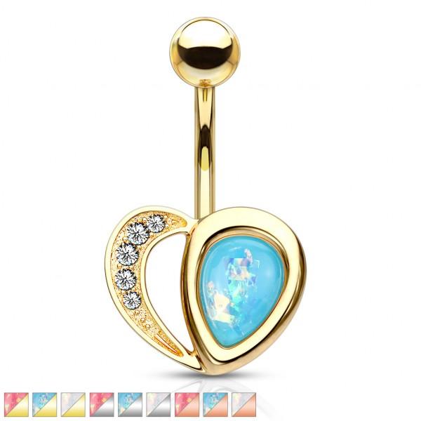 Kristall verziertes Herz mit glitzerndem Opalstein Bauchnabelpiercing