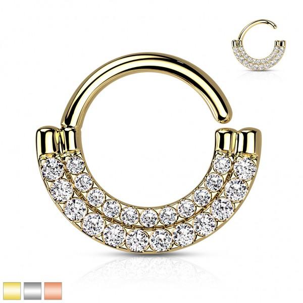 Biegbarer Hoop Ring mit Zirkonias für Daith Ohrpiercing Septum