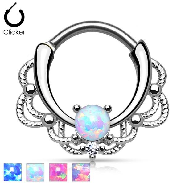 Opal Silber Septum Hänger