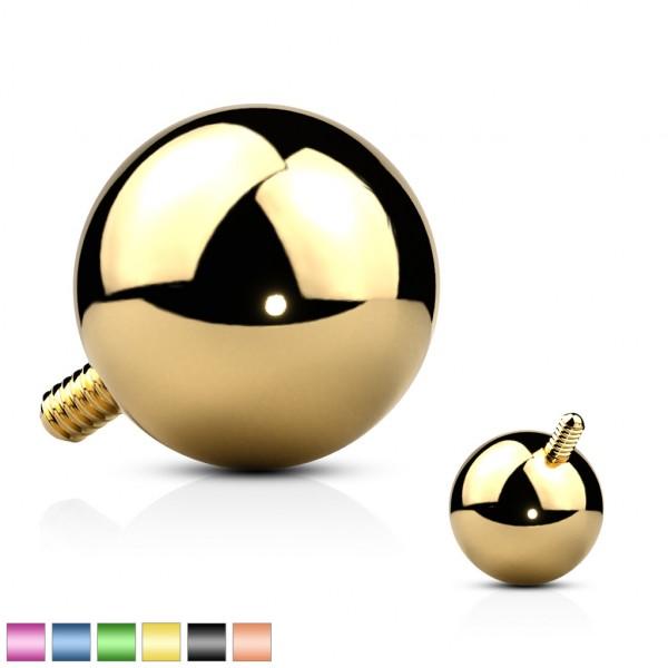 Kugel Gold Schwarz Titan IP Dermal Anchor Top Press Fit Gem 5mm Internally Threaded Chirurgenstahl 3