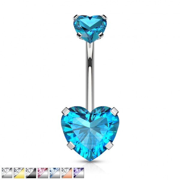 Alle Herzkristall mit Fassung Innengewinde Top Bauchnabelpiercing