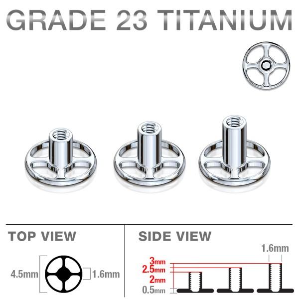 Dermal Anchor Titanium Stecker Einzelstück 4 Löcher