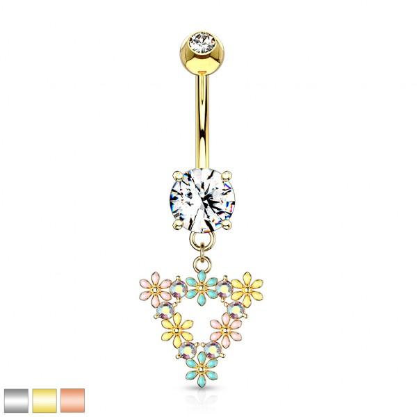 bunte Blumen mit Kristall Triangel hängend Kristall Bauchnabelpiercing