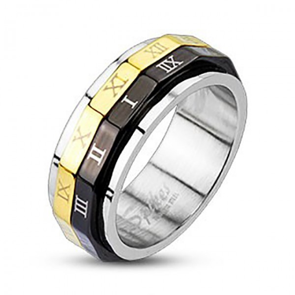 Ring schwarz gold, römische Ziffern, drehbar 316L Chirurgenstahl