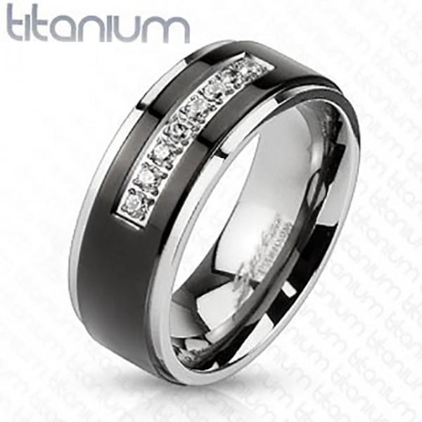 Ring Kristallbesetzt schwarz Silber Titan