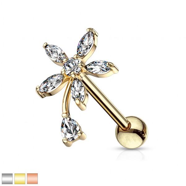 Runde Blume mit Zirkonia für Tragus und Helix Piercing Ohrring
