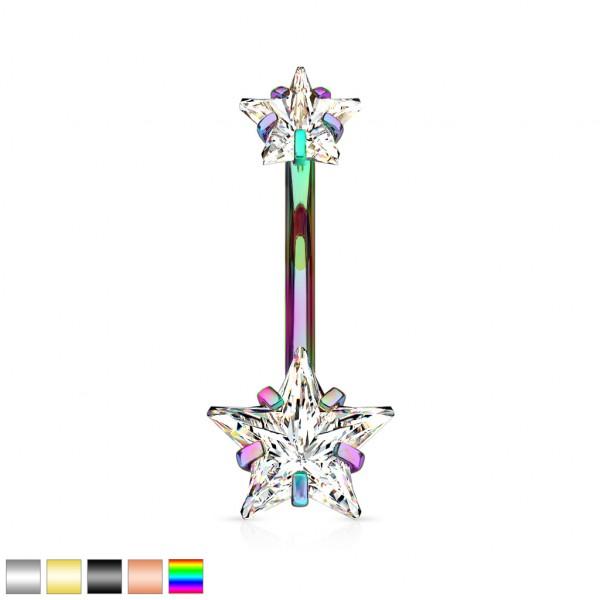 Sternkristalle mit Fassung an beiden Enden Bauchnabelpiercing