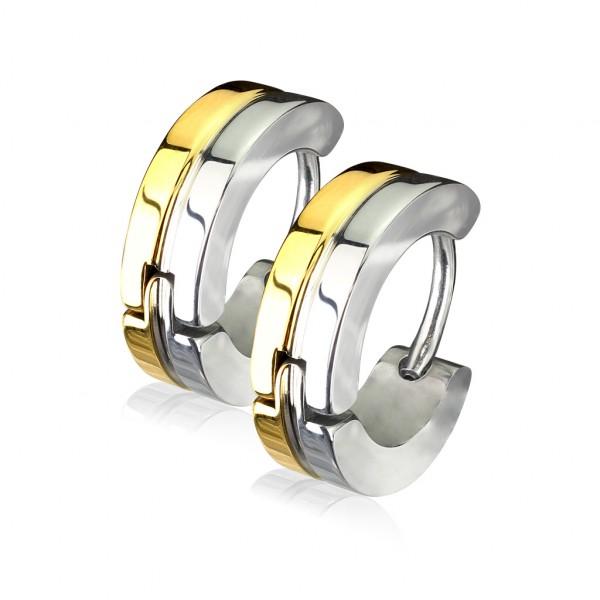 ein Paar Ring 316L Chirurgenstahl Doppel geschichtet Stahl & Gold plattiert Ohrringe