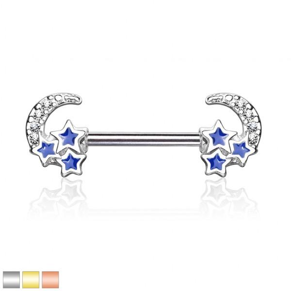 Kristall verzierter Halbmond mit 3 blauen Sternen Nippelpiercing Hantel