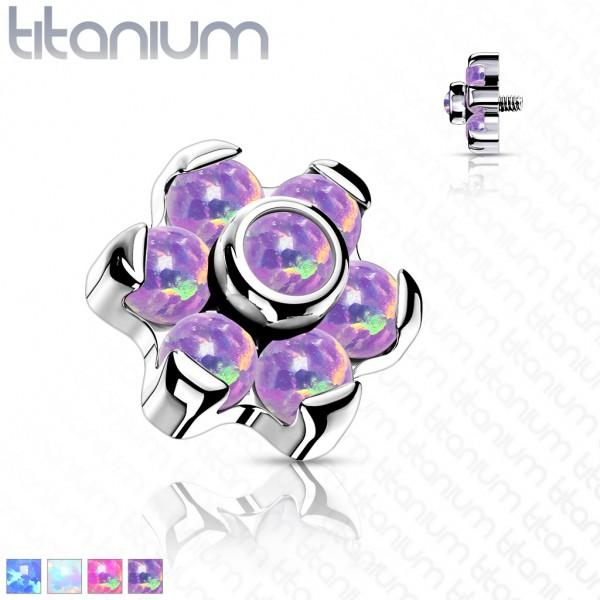 Blume Opal Aufsatz für Piercing Internally Threaded Gewinde Top Ends Labret Dermal Barbell CBR Titan