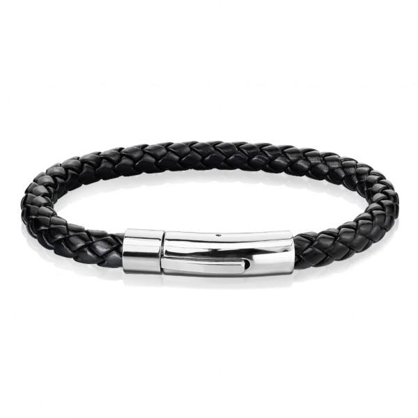 schwarzer Bolo geflochtener Strick mit Verschluss aus rostfreiem Stahl, Leder Armband