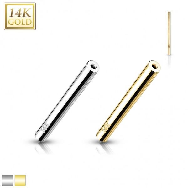 14 Karat Gold Push-In Barbell Stange 585 Gelbgold Weißgold