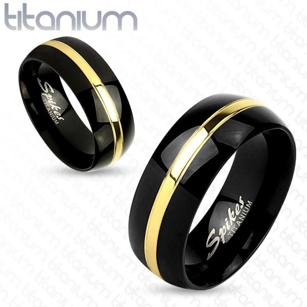 Ring zweitönig gold schwarz Titan