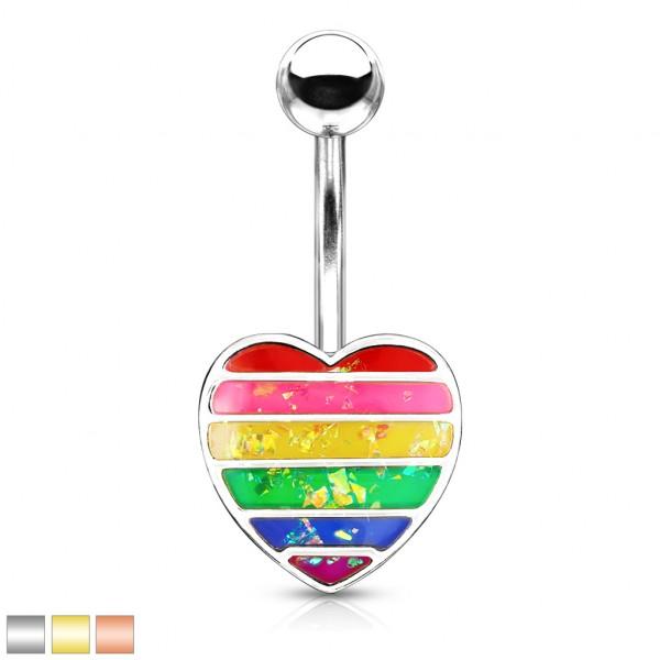 Regenbogen glitzernder Opalstein in Herzform Bauchnabelpiercing