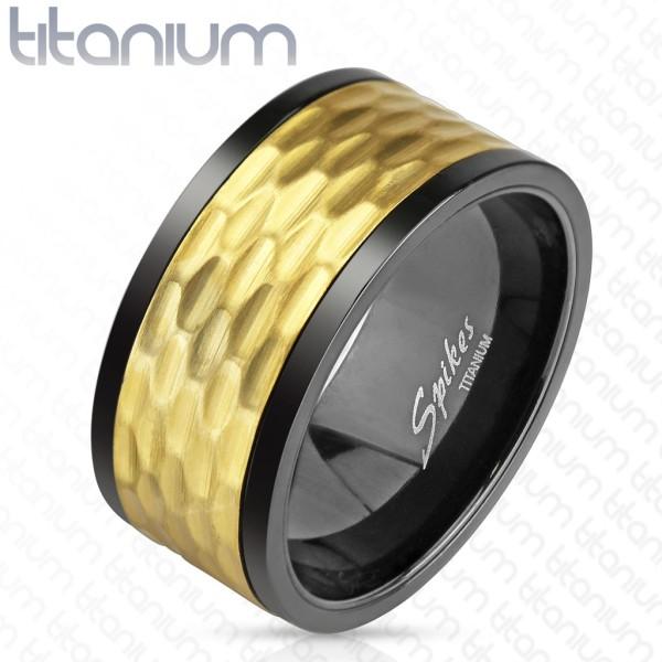 Ring schwarz gold Titan