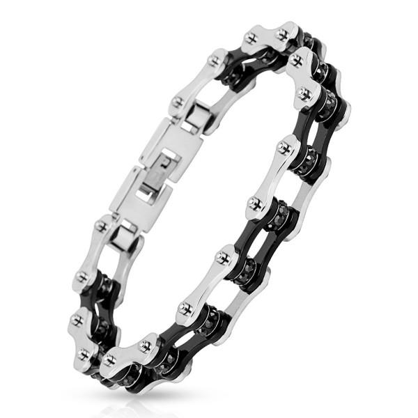 Fahrradkette mit schwarzem Inneren, schwarze Edelsteine, 316L Chirurgenstahl, rostfreies Armband