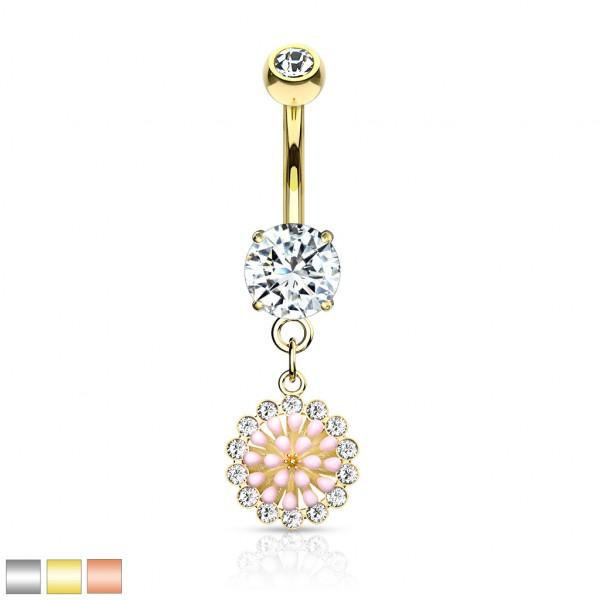 pinke Enamel Blume mit Kristall runder Kristall hängend Bauchnabelpiercing