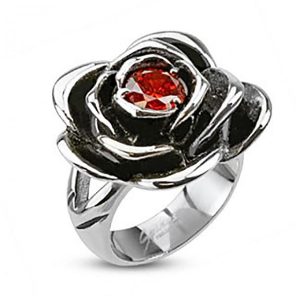 Ring Rose roter Kristall Edelstahl