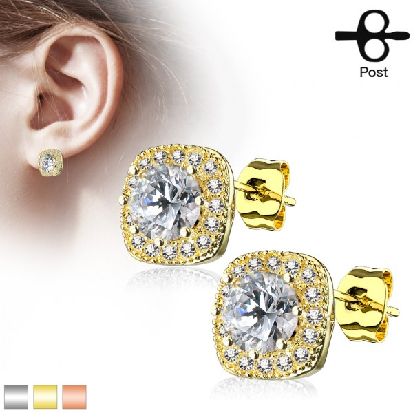 Zirkonia Viereck Gold Ohrringe 1 Paar