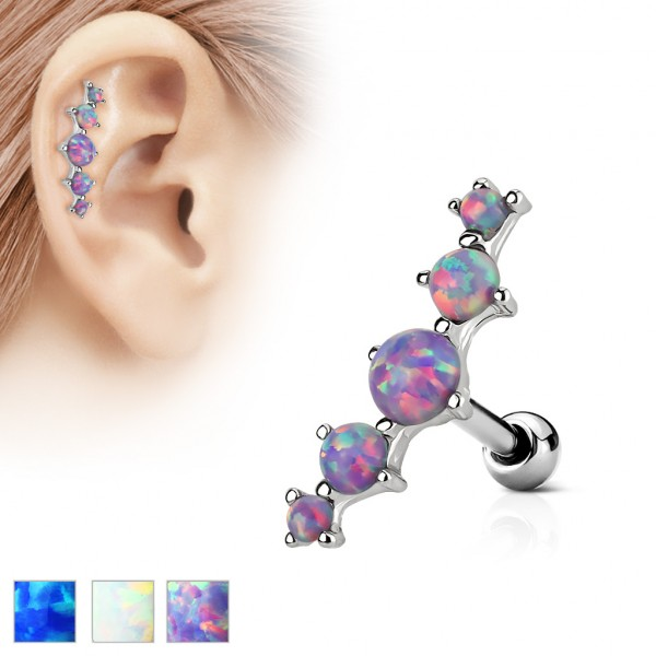 5 Opal Helix Ohrring Tragus Piercing Stecker