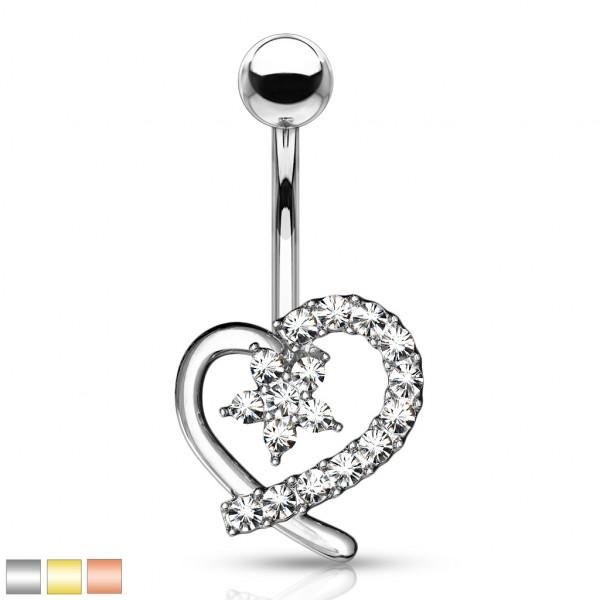 Kristall Hohles Herz mit Kristall Blume in der Mitte Bauchnabelpiercing